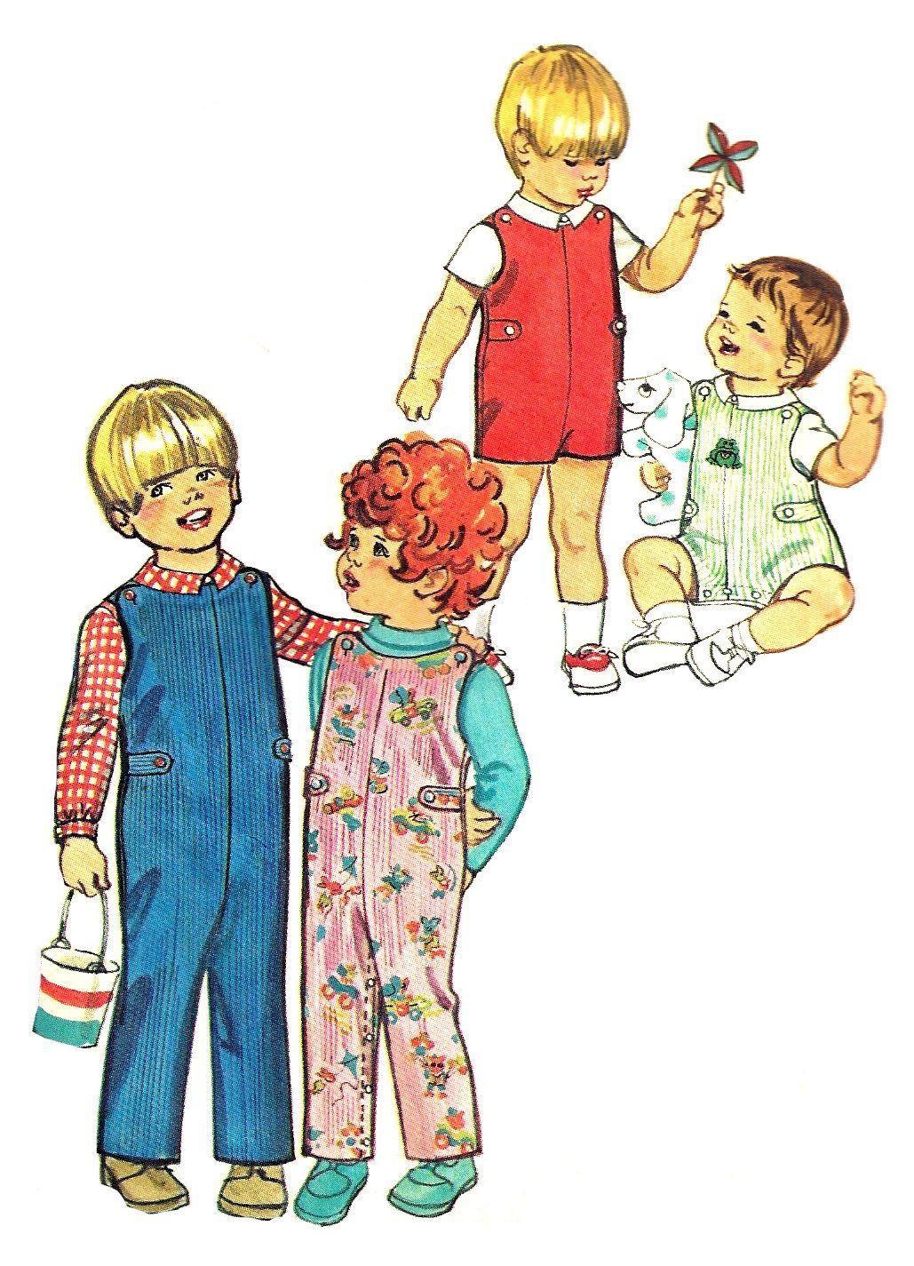 Child\'s Jumpsuit Pattern 1970s Long Short Shirt Top Vintage.