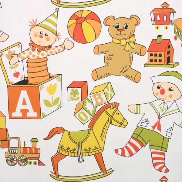 Details about 1970s Childrens Vintage Wallpaper Orange Yellow Toys Rocking  Horse Dolls Blocks.