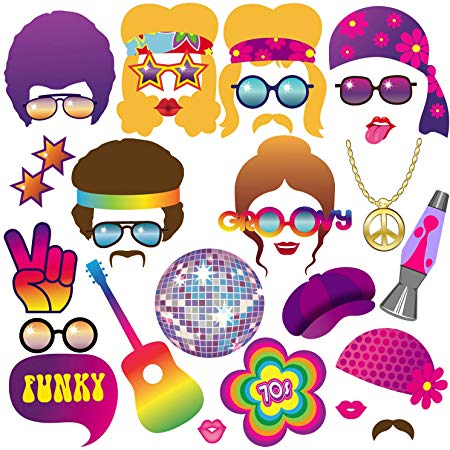 70s Photo Booth Props, BizoeRade 31pcs 1970s Theme Party Props for Disco  Party Decorations, 70\'s Party Favors Supplies for Hippie Party, Disco Fever.