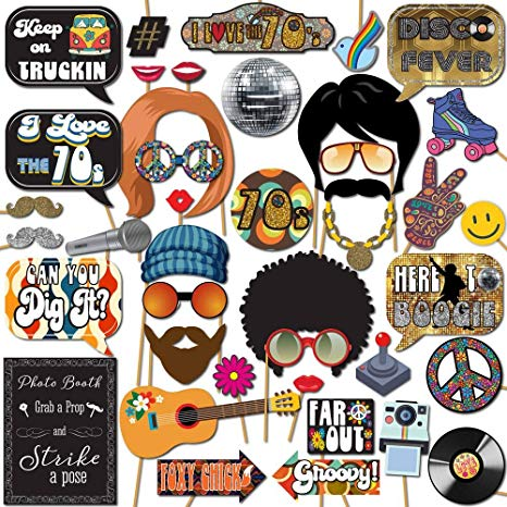 1970s Disco 70s Throwback Party Theme Photo Booth Props Decorations, 41  Pieces with Wooden Sticks and Strike a Pose Sign by Outside The Booth.