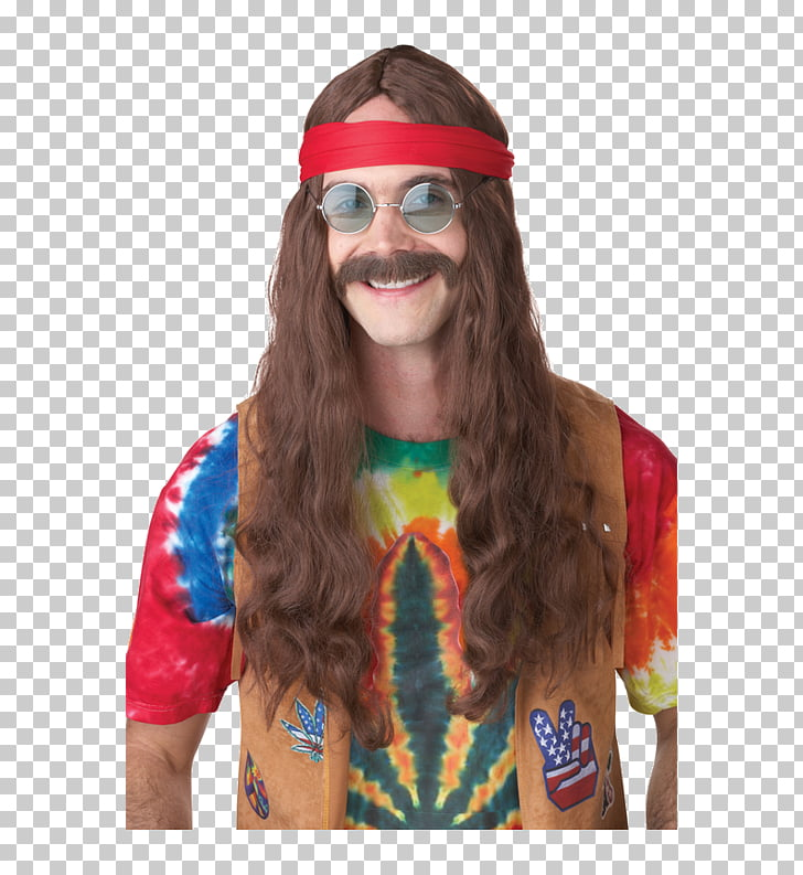 1960s Wig Costume Moustache Hippie, moustache PNG clipart.