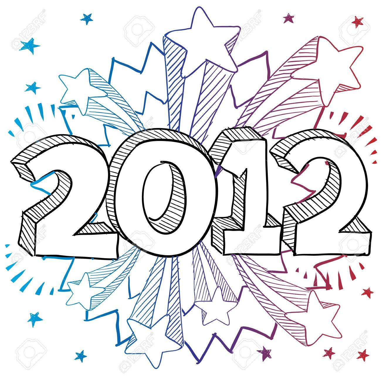 Doodle style 2012 New Year illustration with retro 1970s shooting...