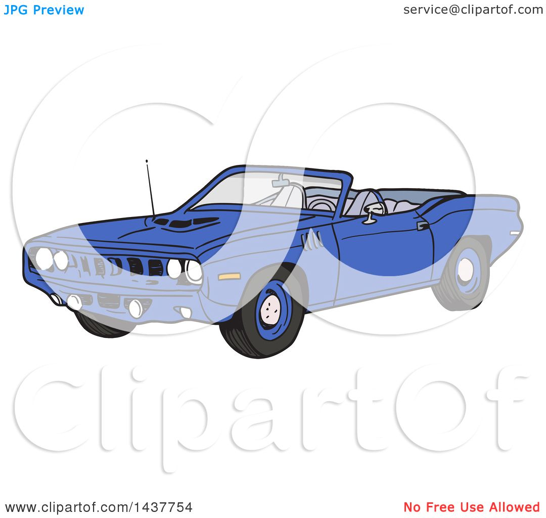 Clipart of a Blue 1971 Hemi Plymouth Barracuda Convertible Muscle.