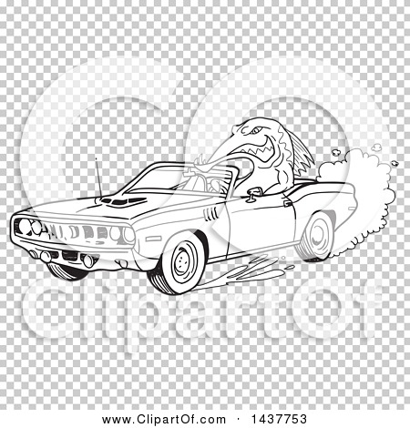 Clipart of a Black and White Lineart Tough Fish Driving a 1971.