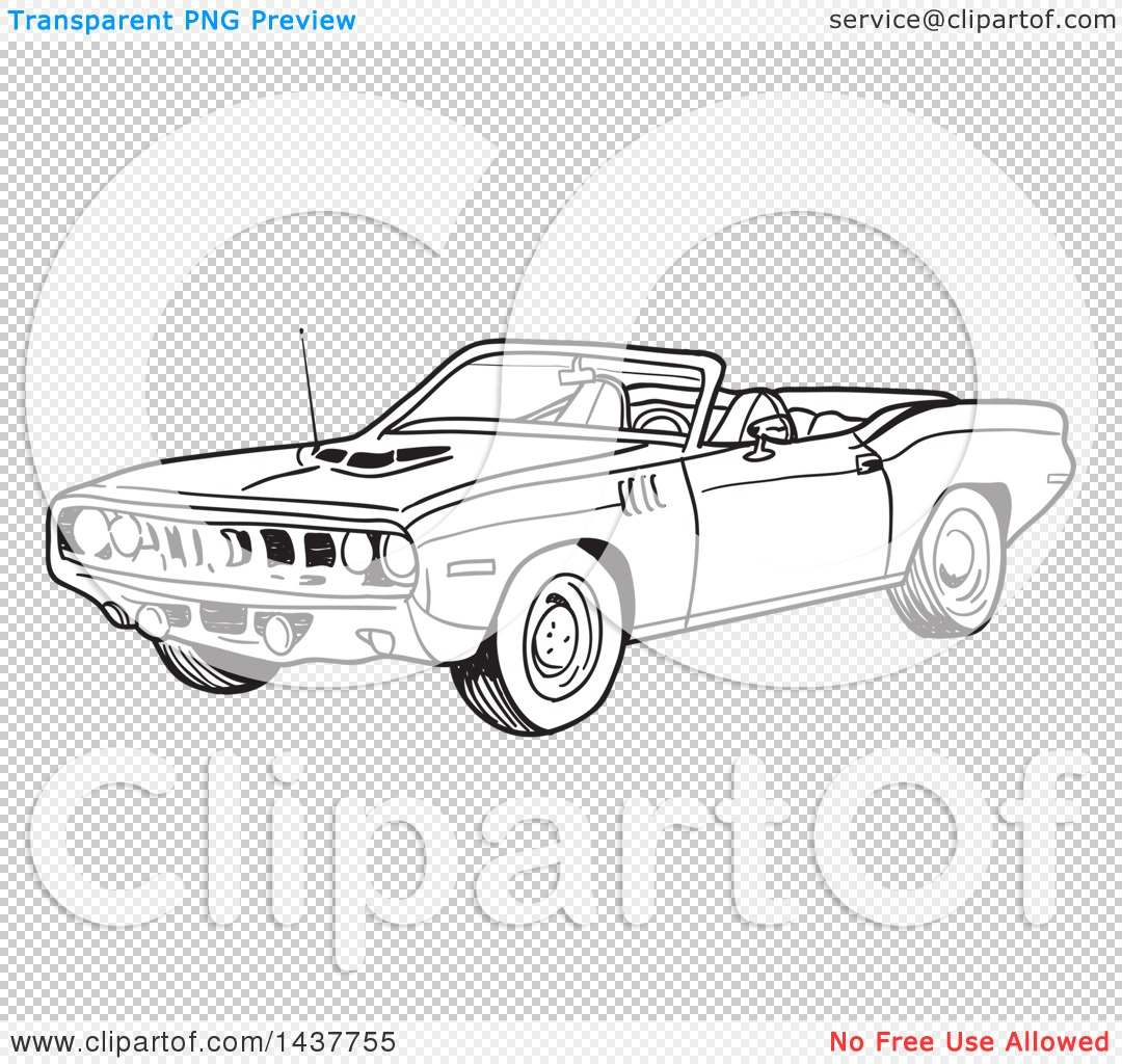 Clipart of a Black and White Lineart 1971 Hemi Plymouth Barracuda.