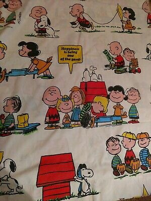VINTAGE 1971 SNOOPY Twin Flat Bed Sheet.