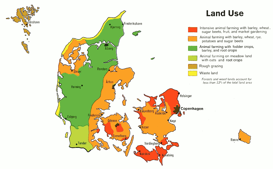 Denmark Land Use 1974 Clip Art Download.