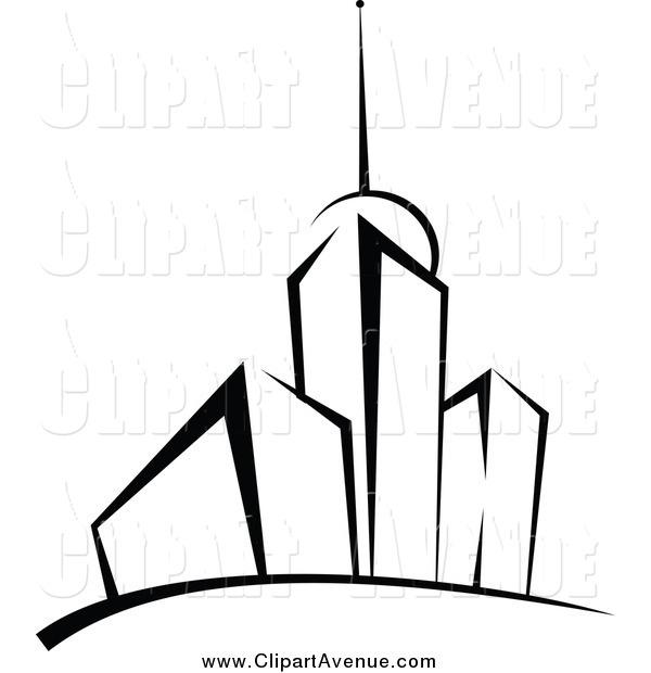 Avenue Clipart of Black and White Skyscrapers by Seamartini.