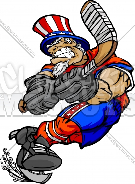 Hockey Uncle Sam Clipart Graphic Vector July 4th Clipart Image.