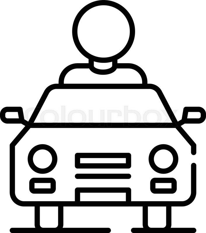 Man car share icon. Outline man car.