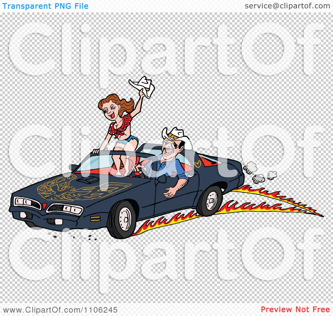 Clipart Man Peeling Out In A 1978 Trans Am Convertible With His.