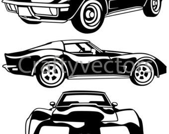 Corvette silhouette clipart.