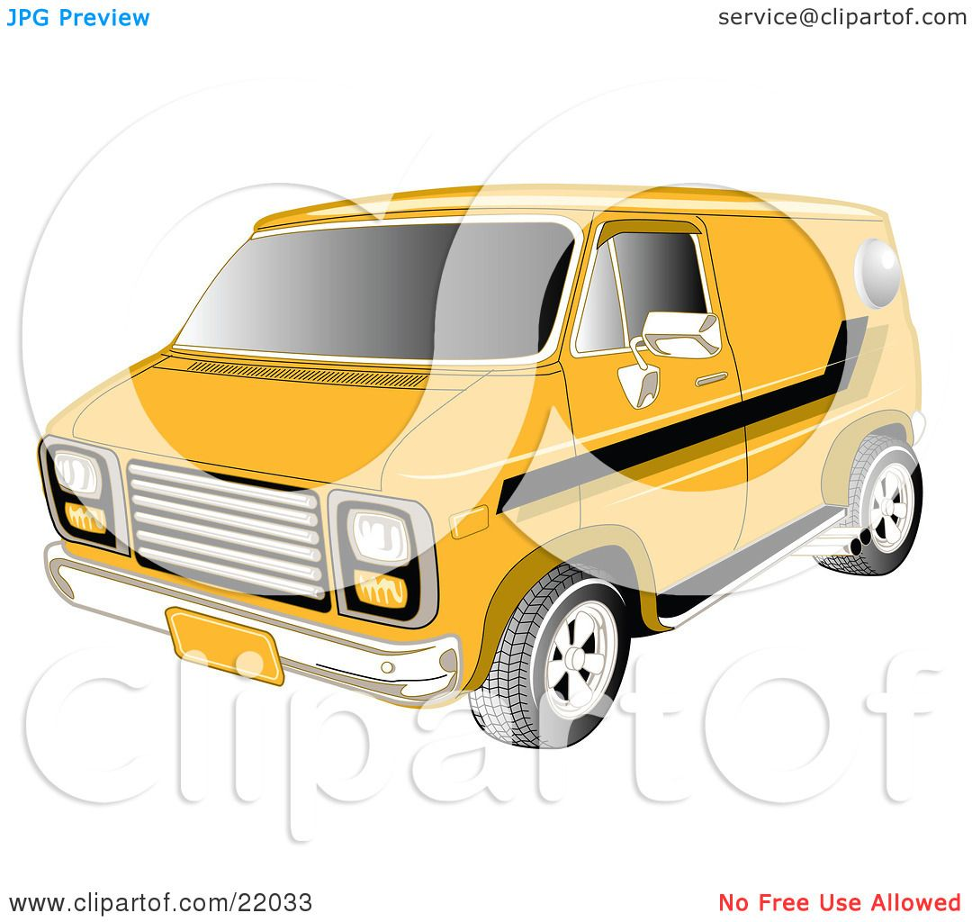 Clipart Illustration of a Yellow 1979 Chevy Van With Tinted.