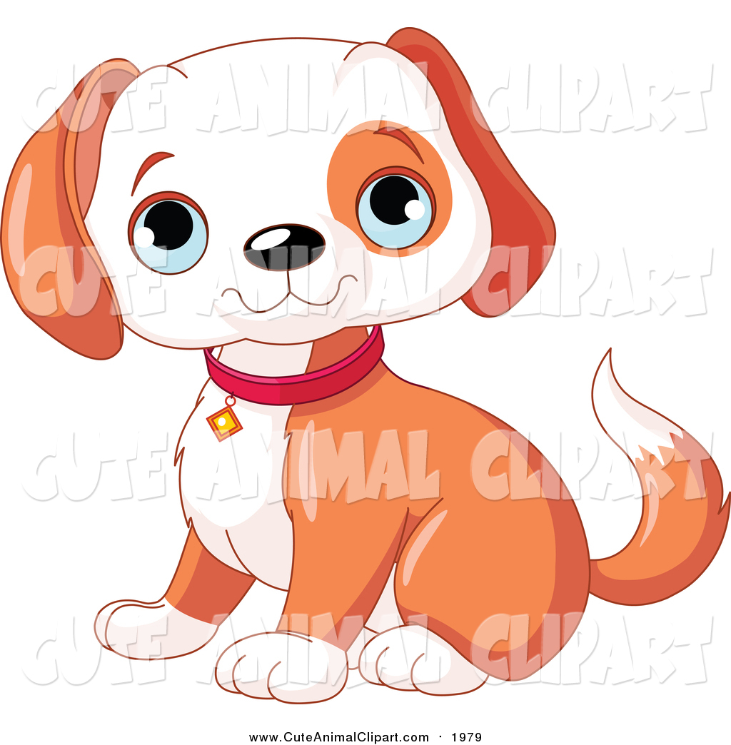 Vector Clip Art of a Cute Happy Puppy Dog Sitting by Pushkin.