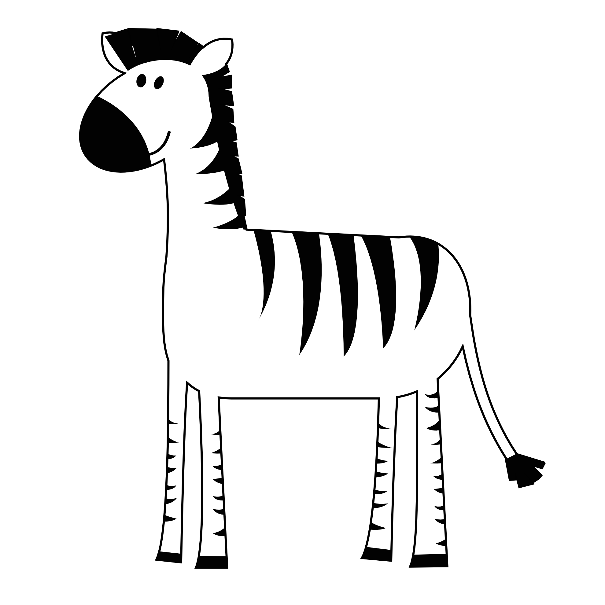 Zebra Clip Art BW.