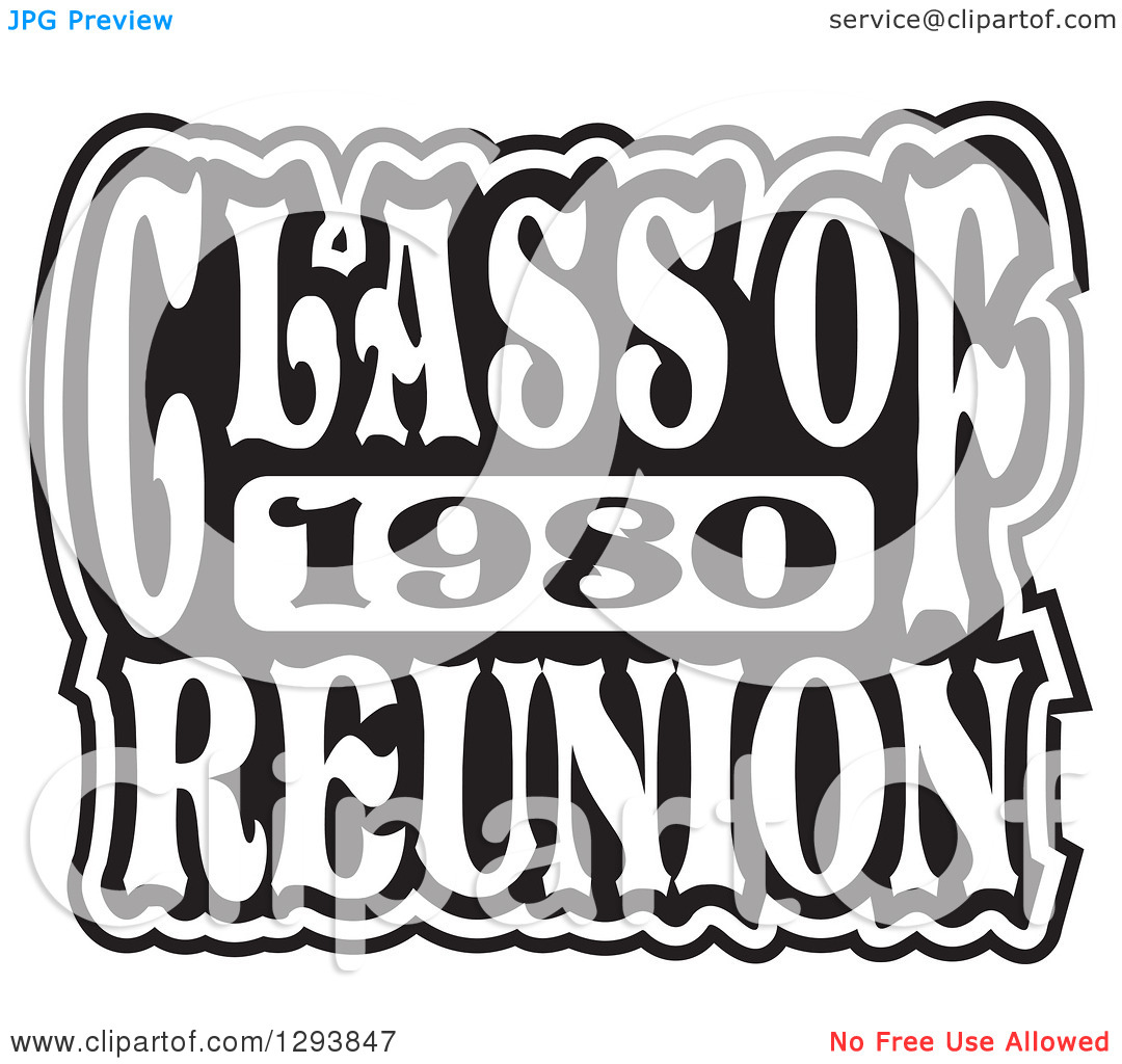 Clipart of a Black and White Class of 1980 High School Reunion.