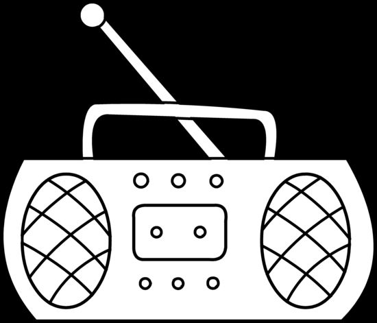 Cartoon Radio Black and White.