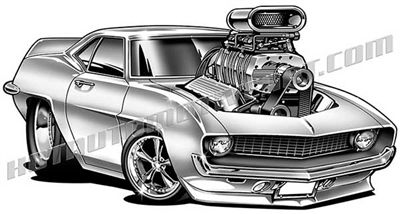 1969 Chevy Camaro muscle car cartoon clip art.
