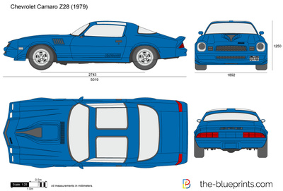 Chevrolet Camaro Z28 vector drawing.