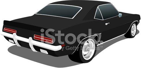 Vector Black 1969 Chevy Camaro Clipart Image.