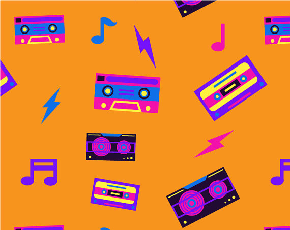 Eighties 80\'s Music clipart, Music clipart, Neon color.
