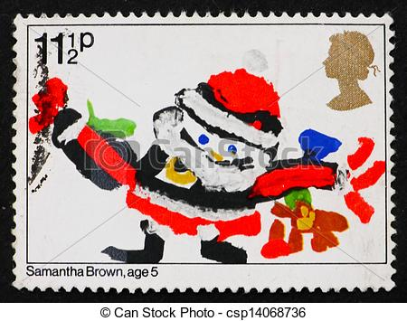 Stock Photos of Postage stamp GB 1981 Santa Claus, Christmas.