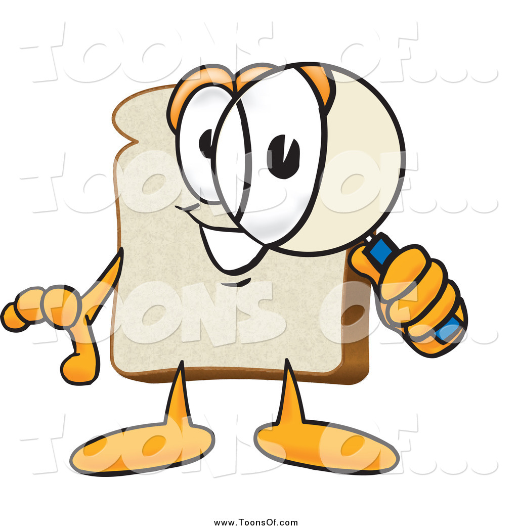 Clipart of a Slice of Bread Peering Through a Magnifying Glass by.