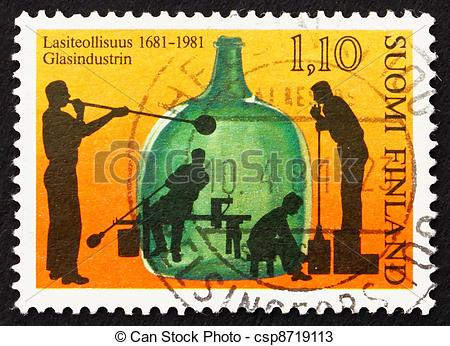 Stock Photos of Postage stamp Finland 1981 Glass Blowing.