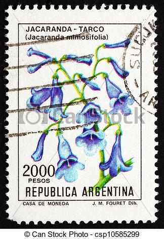 Stock Photographs of Postage stamp Argentina 1982 Blue Jacaranda.