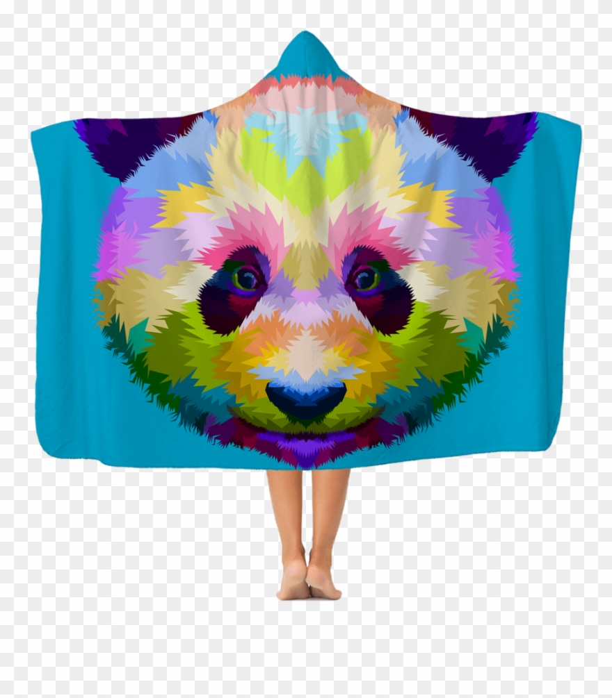 Excelent Colourful Panda Premium Adult Hooded Blanket Clipart.