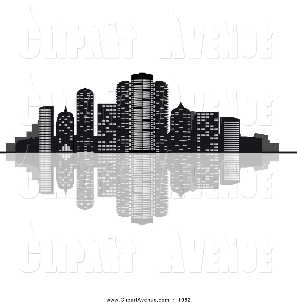 Clipart of a Waterfront City Skyline with Skyscrapers.
