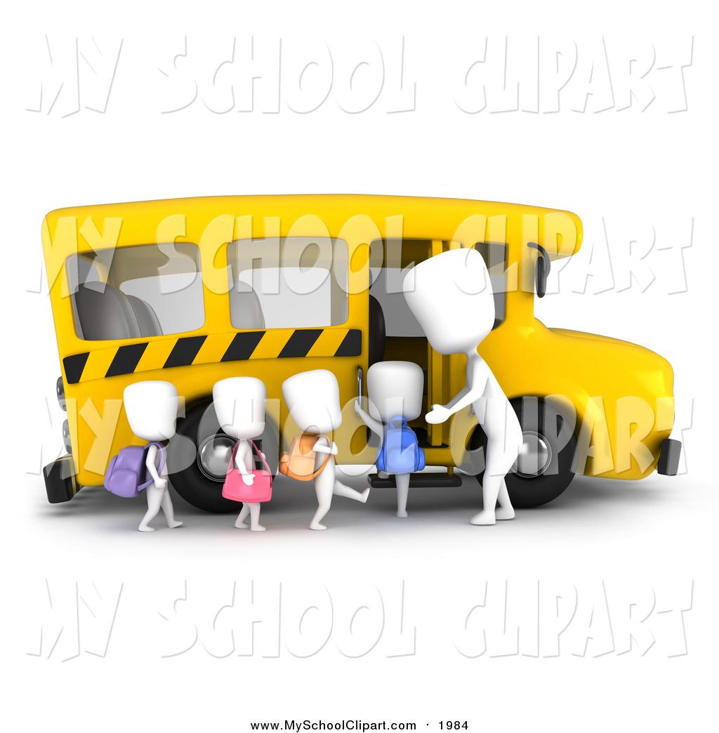 Clip Art of a 3d White Kids Loading a School Bus by BNP.