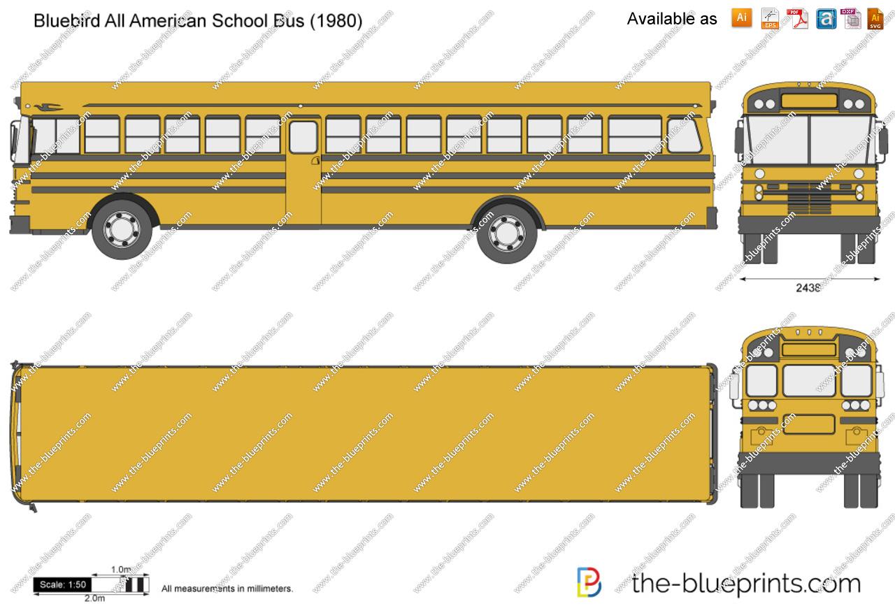 Bluebird All American School Bus vector drawing.