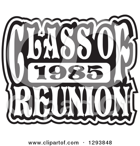 Clipart of a Black and White Class of 1985 High School Reunion.