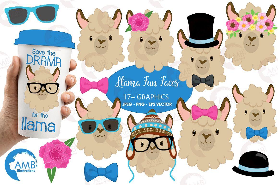 Llama Funny Faces clipart, graphics, illustrations, AMB.