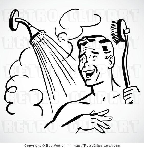Happy Retro Man Showering.