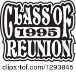 Clipart of a Black and White Class of 1990 High School Reunion.