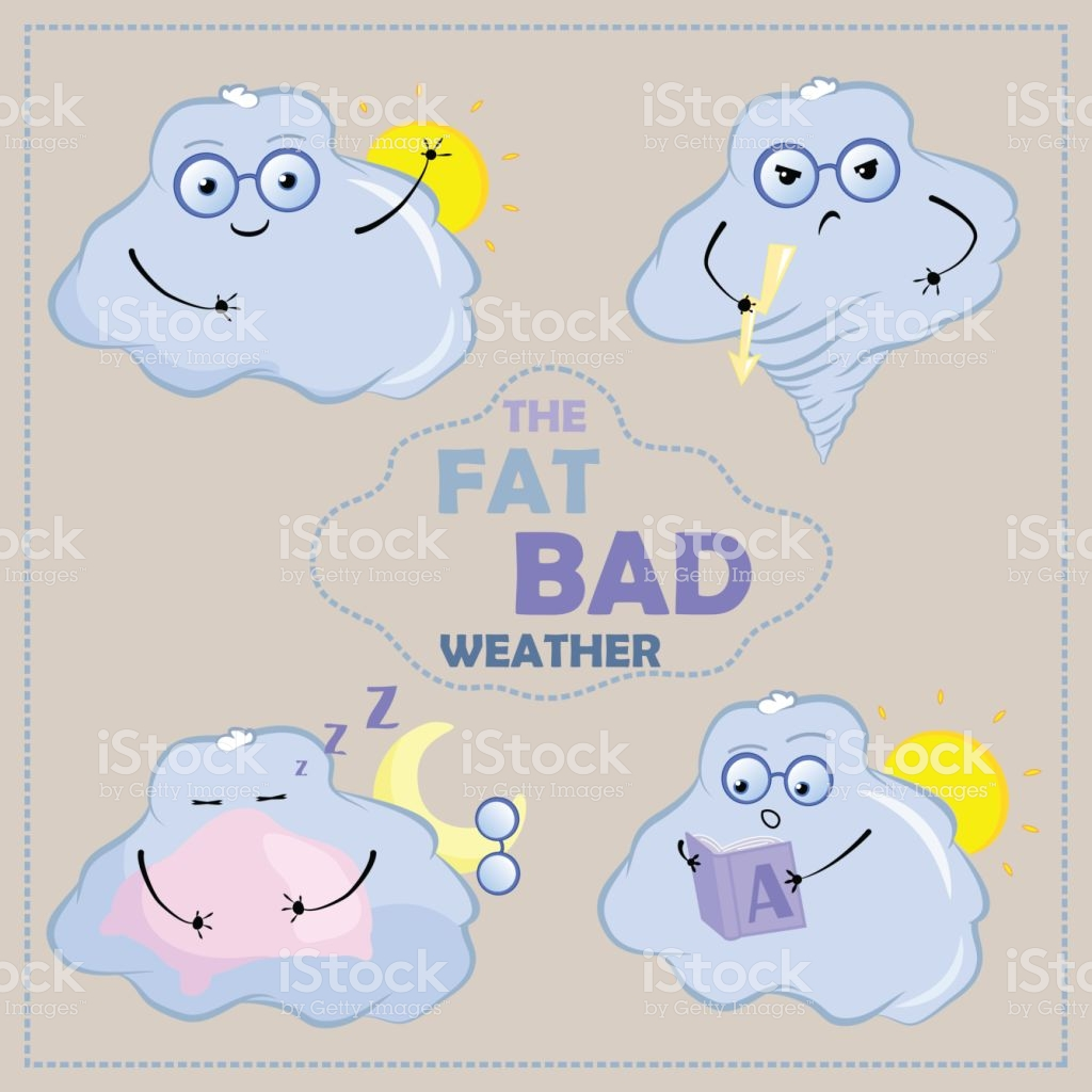 Cute Cloud Characters Vector Clipart Cloud With Face And Glasses.