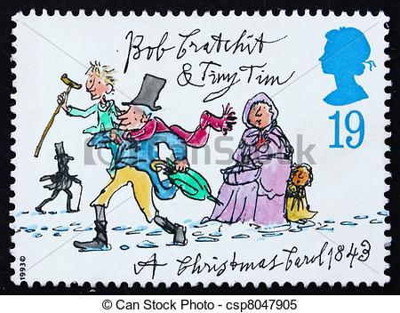 Stock Illustrations of Postage stamp GB 1993 Tiny Tim and Bob.
