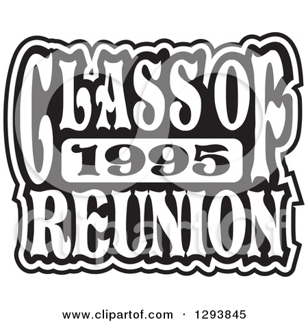 Clipart of a Black and White Class of 1995 High School Reunion.