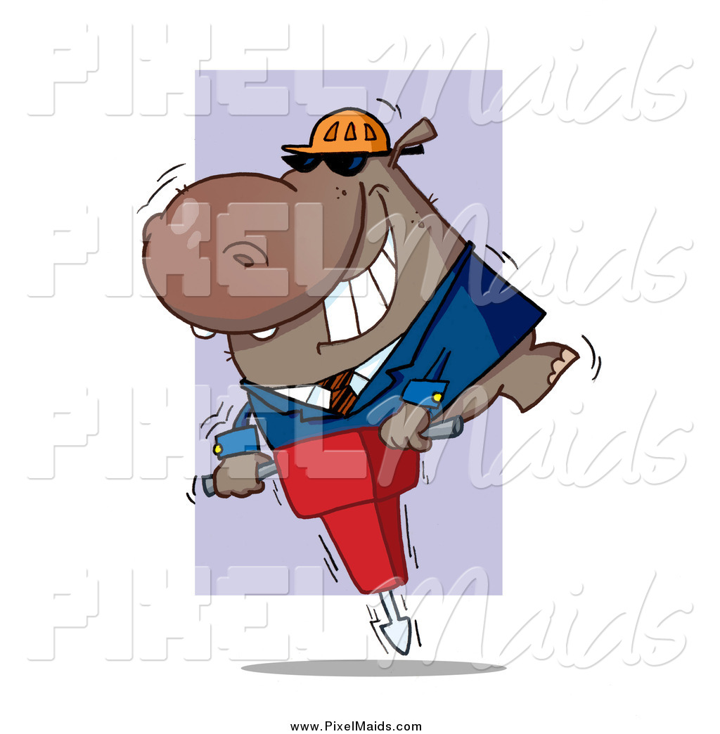 Clipart of a Construction Worker Hippo Operating a Jack Hammer by.