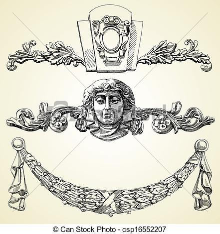 Vector Clipart of The reliefs of the 19th century Kiev buildings.