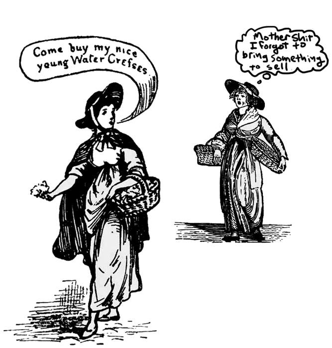 Tales of envy in 19th century clip art.