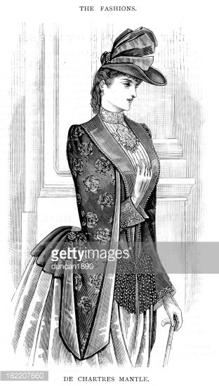 Victorian Fashion Young Woman 19th Century Stock Vector.