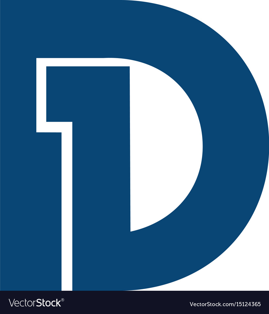 Initial letter and number symbol d1 and 1d logo.