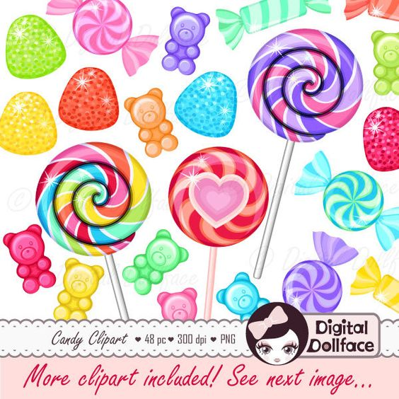 Rainbow Candy Clipart, Sweet Shop Birthday Candy Clip Art.
