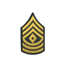 First Sergeant Army Rank Insignia Sew On Gold on Green Female.