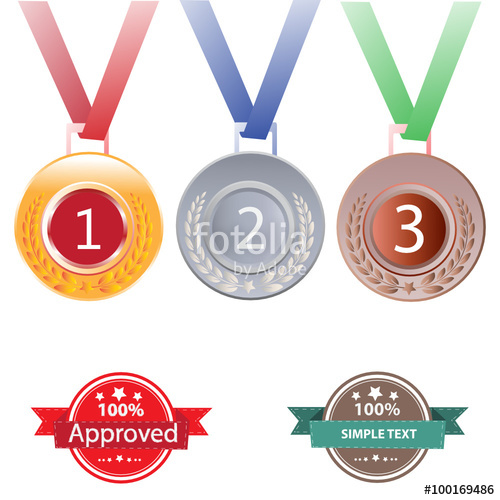 Gold silver and bronze medals for 1st , 2nd and 3rd places.