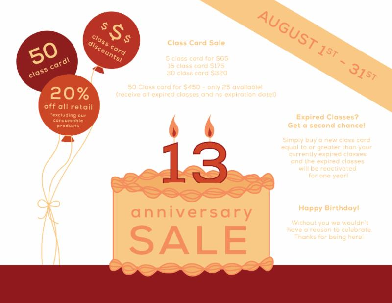 Anniversary Sale Ends TODAY! Our Fall Schedule Starts.