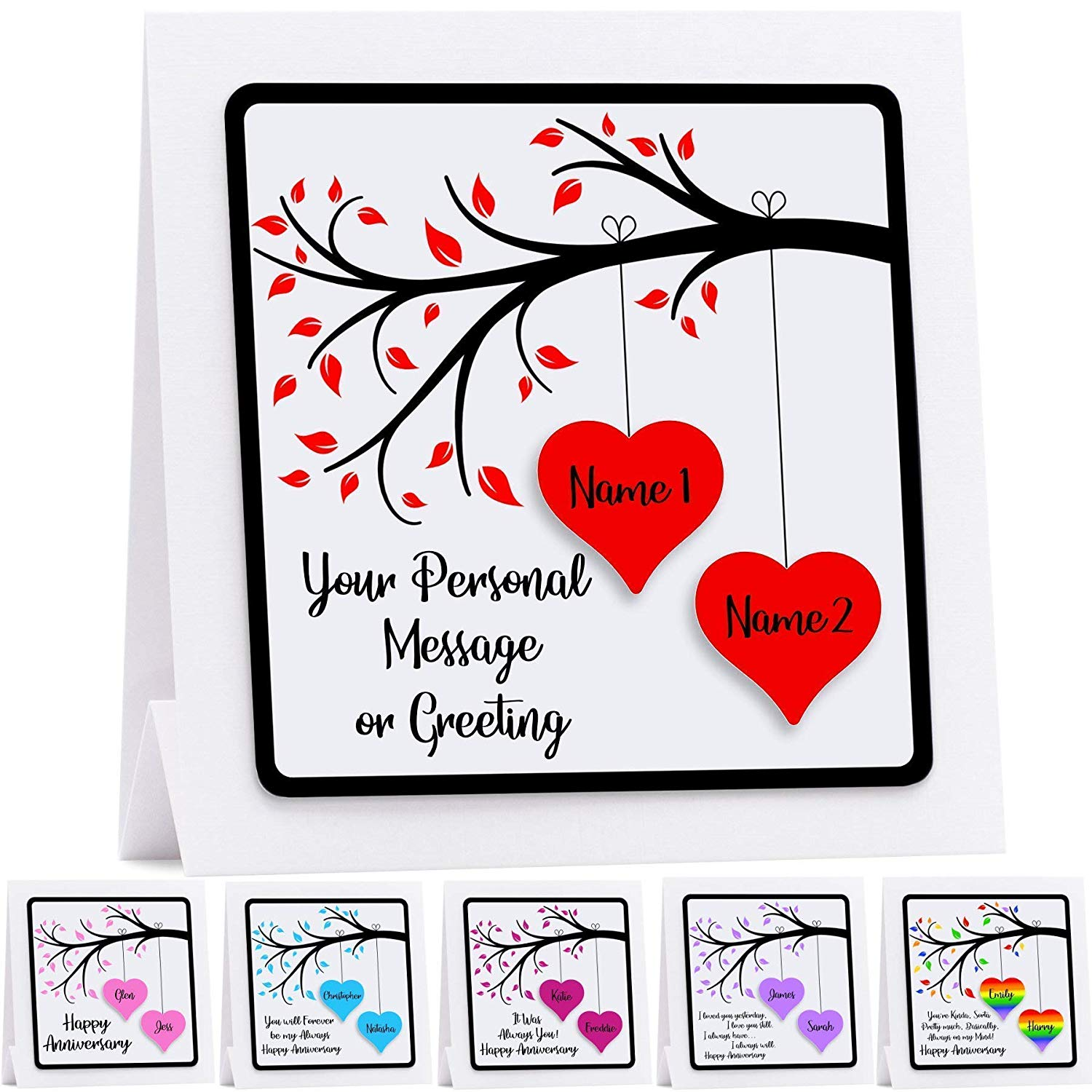 Personalised Anniversary Card For Husband Wife Couples First Anniversary  Choice of 6 Colours And 12 Quotes/Messages Ruby Wedding Anniversary card.